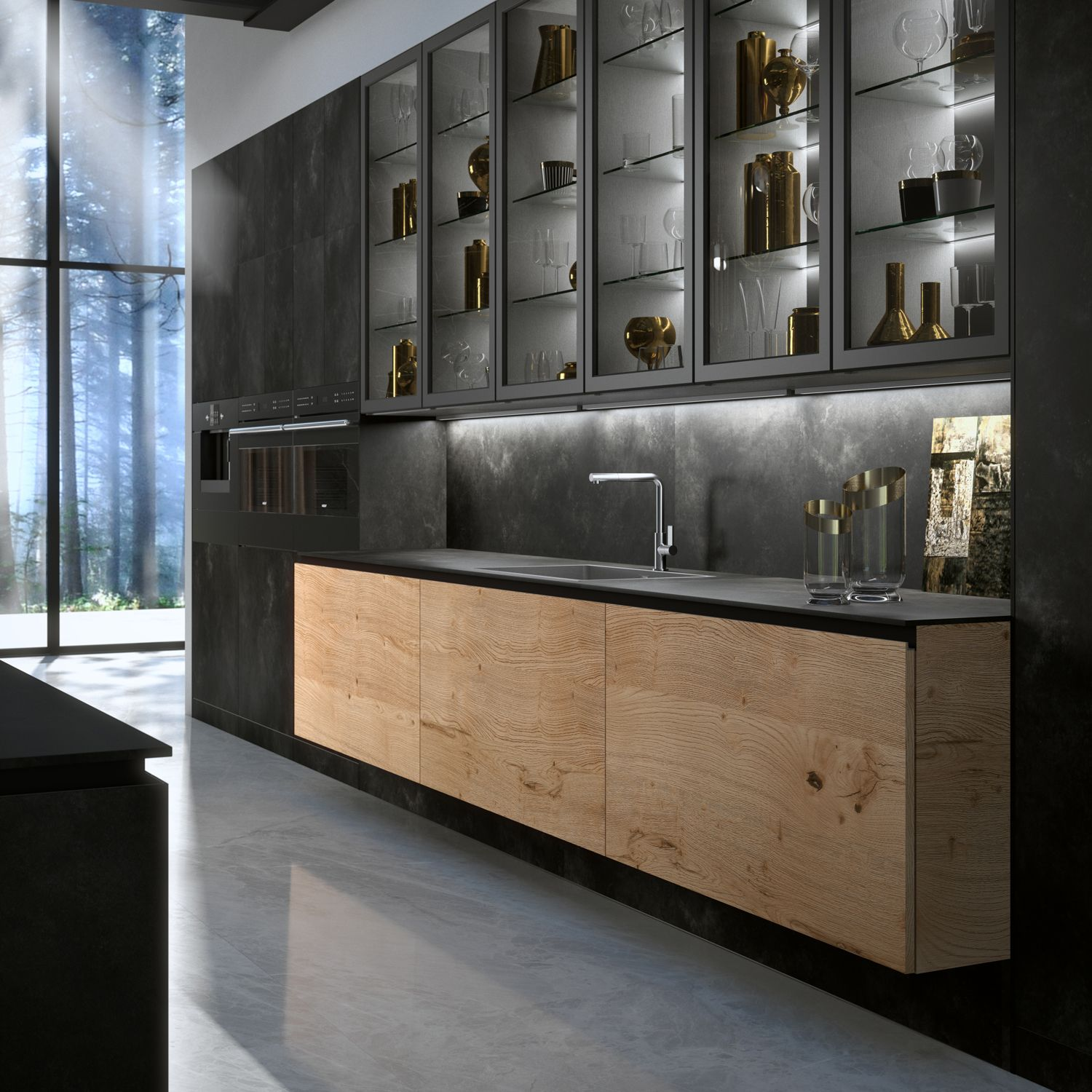 Heartwood Base Cabinets With Tall Units, Countertop And Backsplash In  Ossido Nero Ceramic. Upper