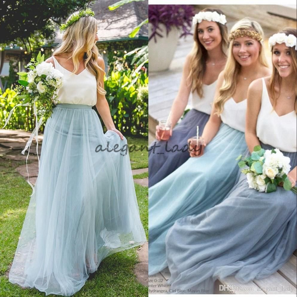 2018 country style bridesmaid dresses blush tulle skirt for junior 2018 country style bridesmaid dresses blush tulle skirt for junior ocean blue custom made maid of ombrellifo Choice Image