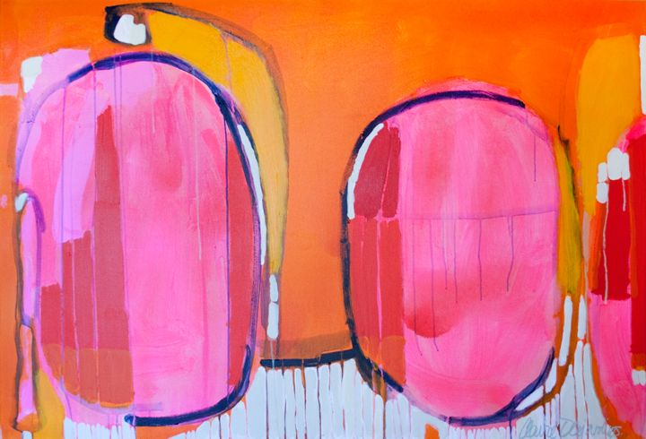 """""""Drops in a Bucket"""" by Claire Desjardins – 60″x40″ – Acrylics on canvas."""
