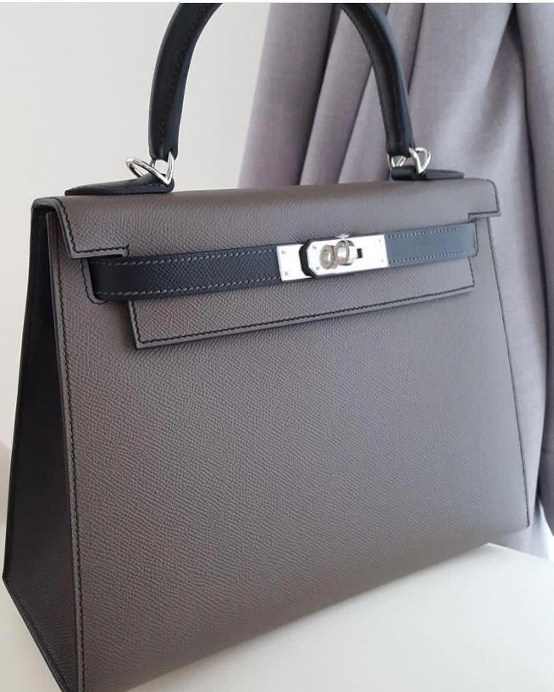a10428735d2c Hermes Kelly 28 Sellier HSS Etain   Black Epsom Phw A  Hermeshandbags