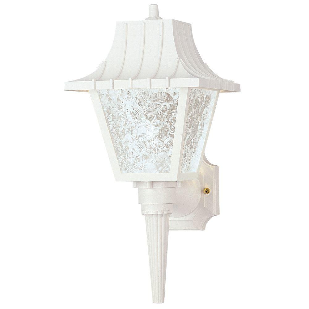 Westinghouse 1 Light White Exterior Wall Coach Light Sconce With Removable Tail Hi Impact Polycarbonate And Clear Textured Acrylic 6694600 With Images Wall Lantern Outdoor Wall Lantern White Wall Lights