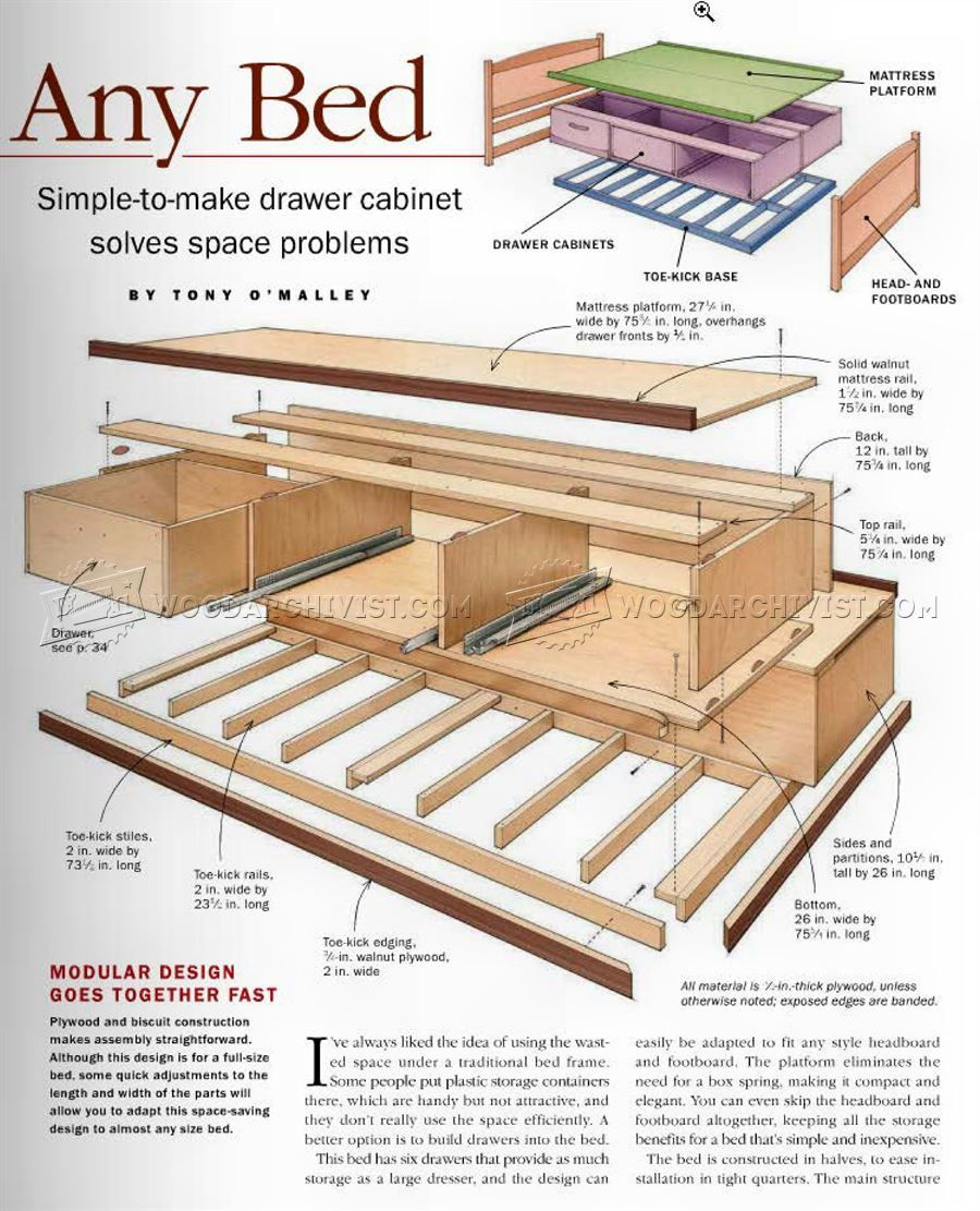 Bed Frames With Storage Plans 2733 under bed storage plans - furniture plans | storage beds