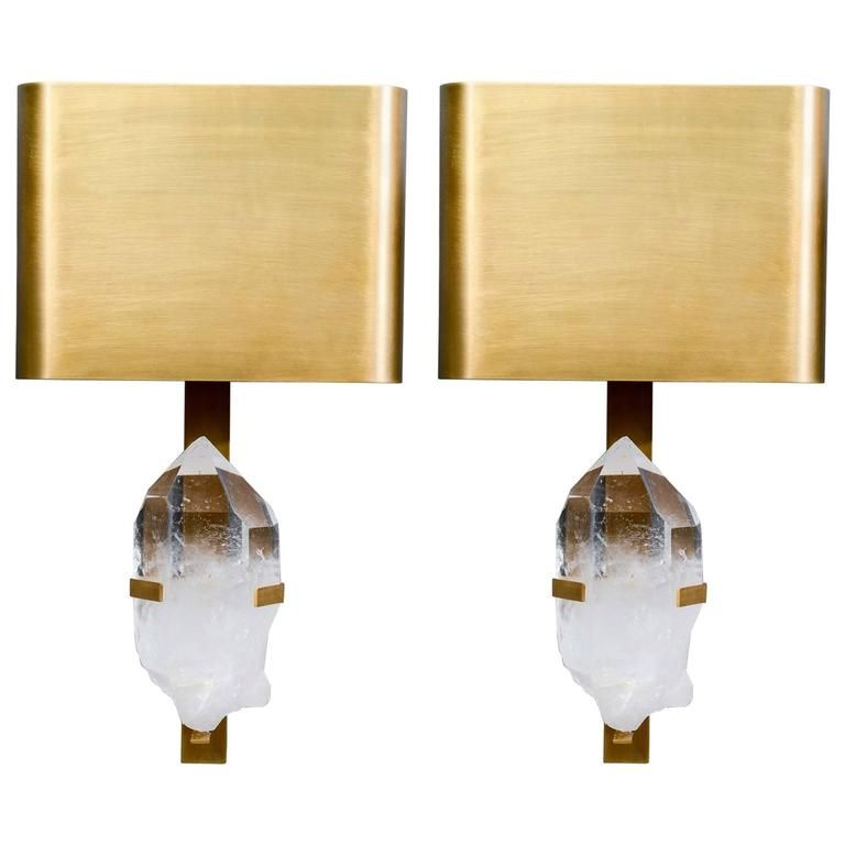 Pair Of Brass And Rock Crystal Wall Sconces Wall Sconces Modern