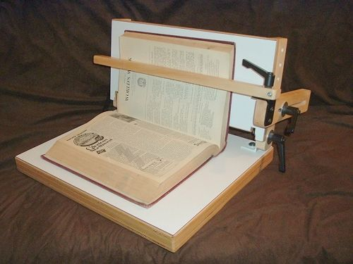 In-situ Repair Conservation Book Holder. Built by Jim Poelstra.