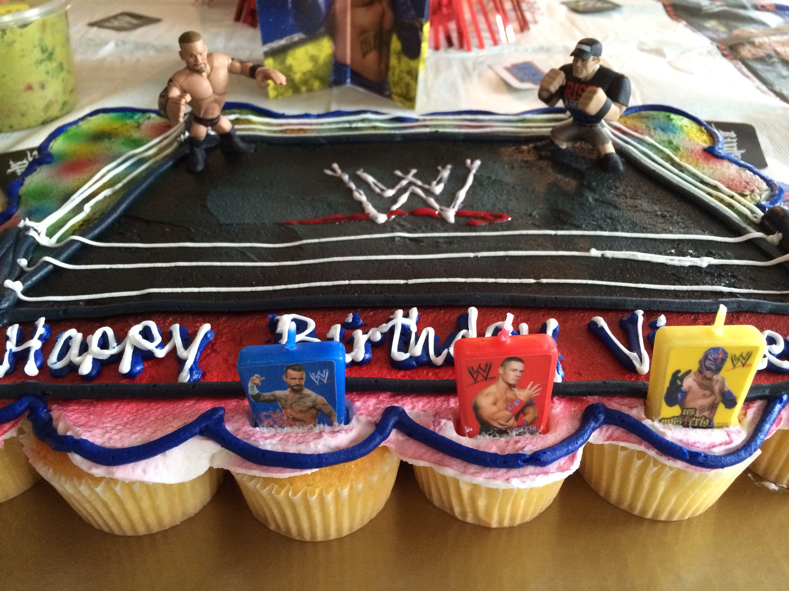Kroger Cupcake Cake Hand Printed WWE Sign Purchased Figures For Ring Turned Out Pretty Cool And Son Loved It