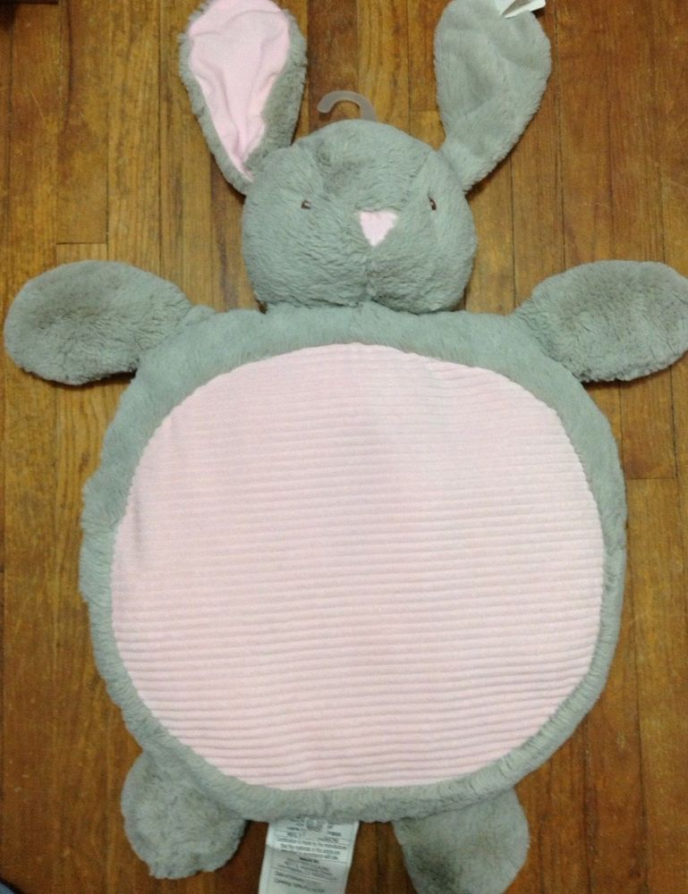 Play Mats Plush Gray Grey Bunny Rabbit Baby Nursery Floor Pillow Mat Stuffed Toy Playmats Pillow Mat Playmat Rabbit Baby