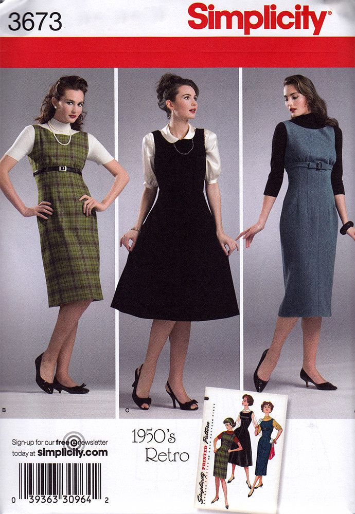 Simplicity 3673 Dress Sewing Pattern - 1950s Vintage Sewing Pattern ...
