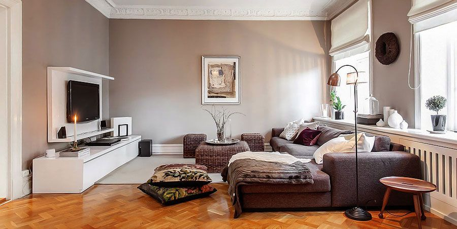 charming decorate small living room apartment decorating | Charming Swedish Style Apartment in Cappuccino Color ...