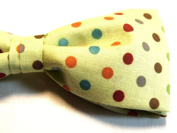 Colorful Polka Dots Green Bow Tie Adjustable Pretied by Gustys