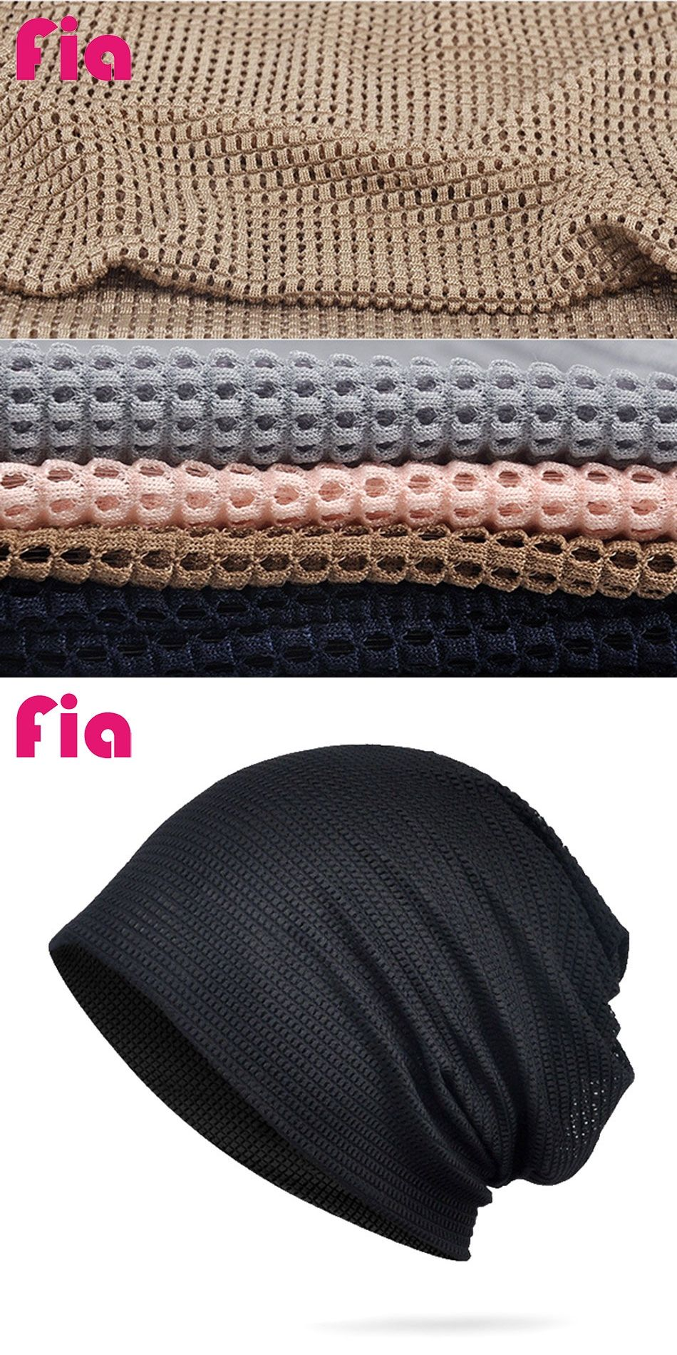 2f278ec520328 FIA Unisex Double 2 Used Hats for Men and Women Thin Caps Solid Color with  Ventilate Mesh Grid Polyester Autumn Winter ZY3039