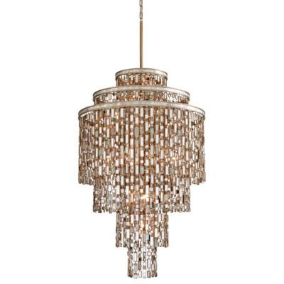Retro Palladium Crystal Glass Fringe 5 Tier Chandelier H 35