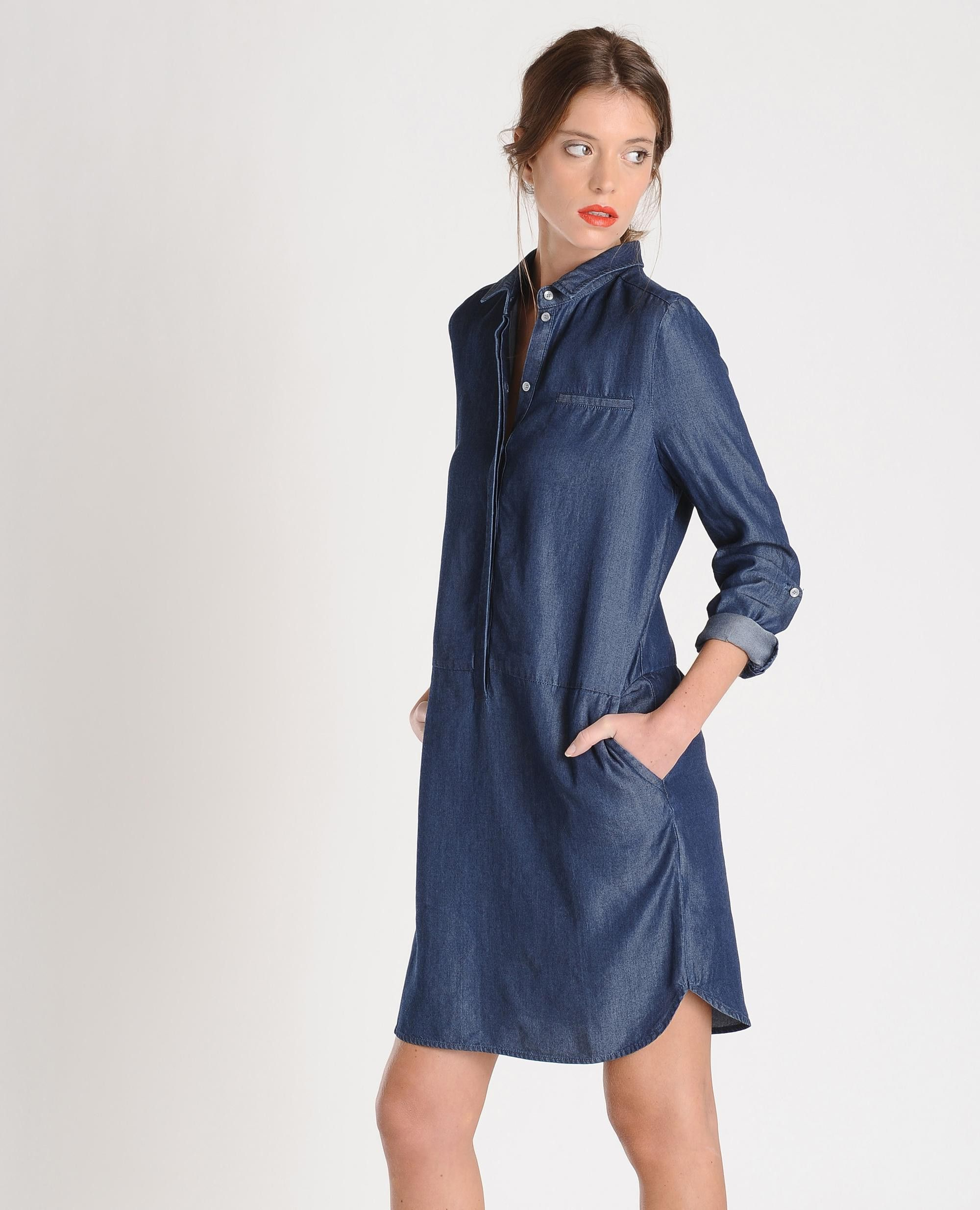 robe chemise esprit denim manches longues deux poches With robe longue esprit