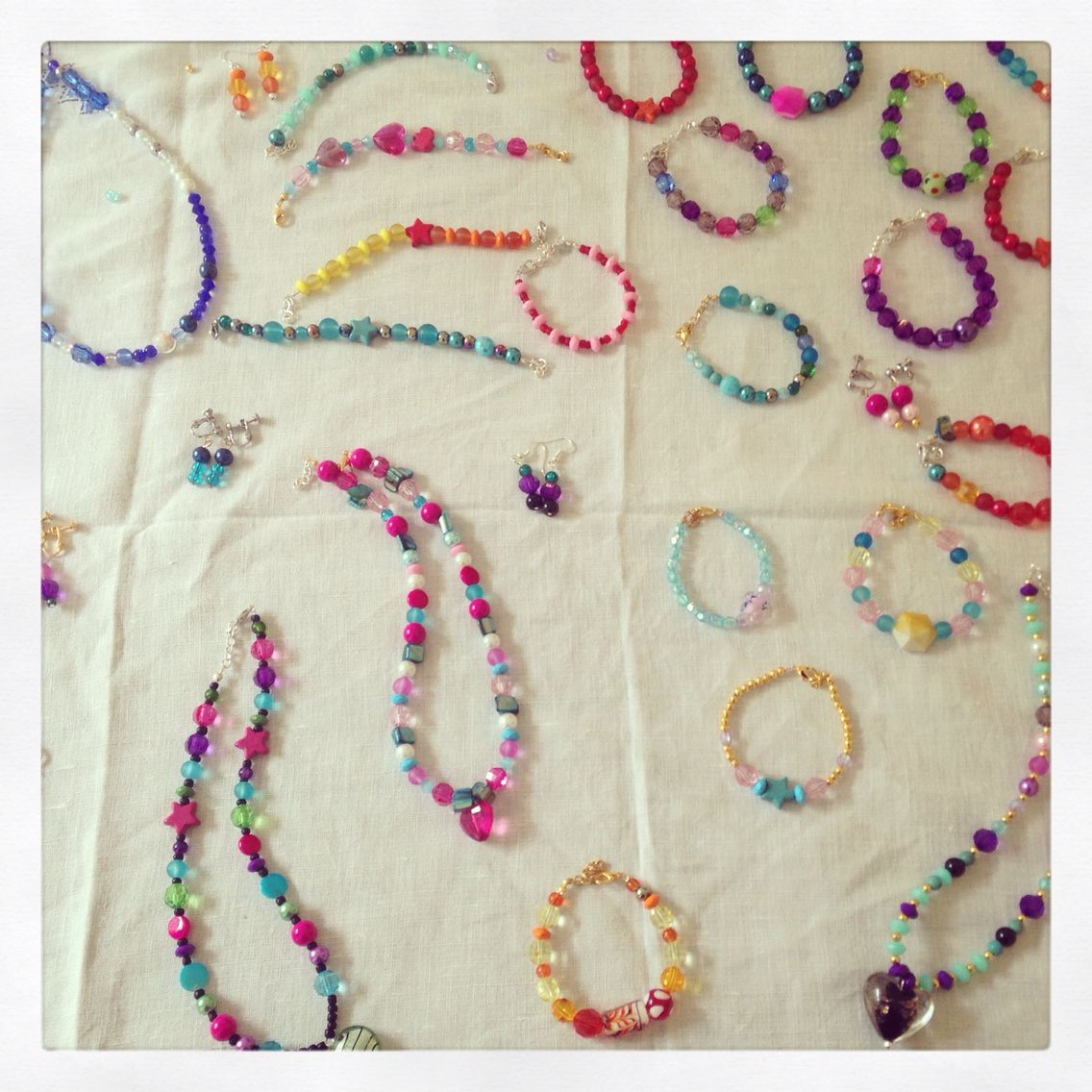 Hand made jewellery from Ella's 8th birthday party! Awesome job girls!