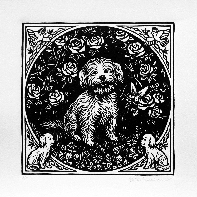 Bichon Frise Art Linocut Print Havanese Maltese Dog Portrait In
