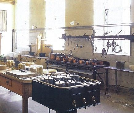 english manor house kitchen in petworth house. kitchen dates from