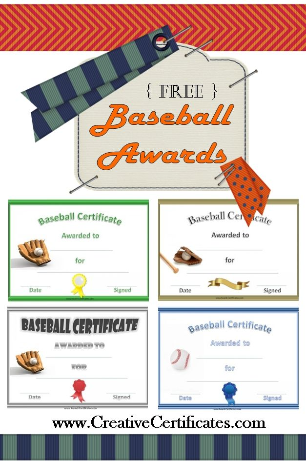Free printable baseball awards and certificates baseball pinterest free printable team for Baseball certificate ideas