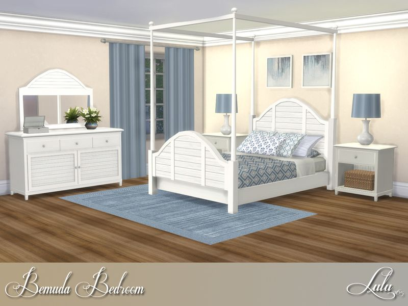 This bedroom set includes a lovely canopied bed, with