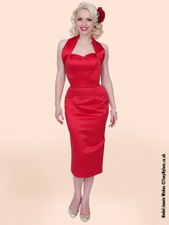 e2f71ed6dc9 1950s Halterneck Pencil Red Duchess Dress from Vivien of Holloway ...