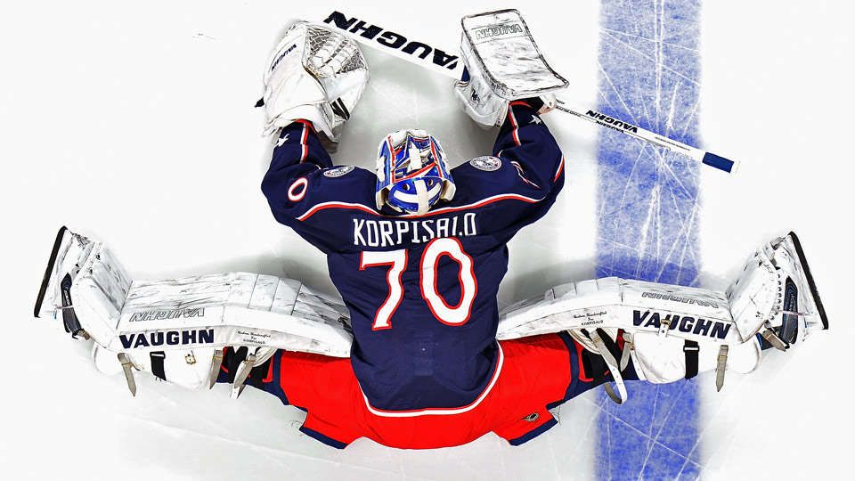 Joonas Korpisalo of the Columbus Blue Jackets stretches during pregame warmups prior to making his NHL debut against the Tampa Bay Lightning on December 14, 2015 at Nationwide Arena in Columbus, Ohio.
