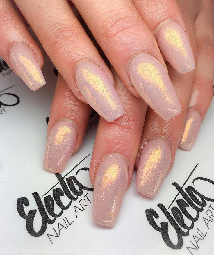 Blush Pink with Golden Glow coffin nails #nail #nailart Pretty! Nail ...