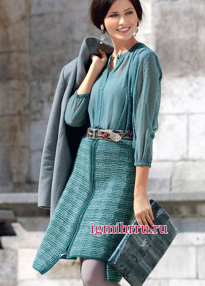 Длинная юбка вяжем спицами 152