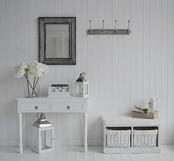 remarkable hallway storage furniture ideas | White and silver hall furniture and accessories. Hallway ...
