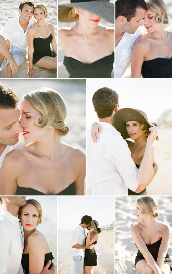1950s style beach engagement photos. This is EXACTLY what I want to do with the 1950s beach, car and plane scene!!!