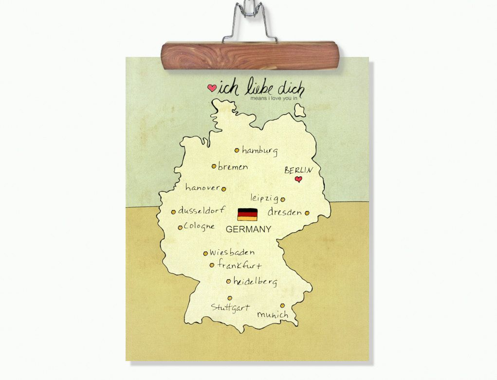 German Map Children Decor Wall Art Poster - I Love You in Germany No ...