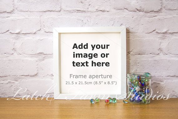 Marbles jar toy white square box frame mock up by Latchfarmstudios ...