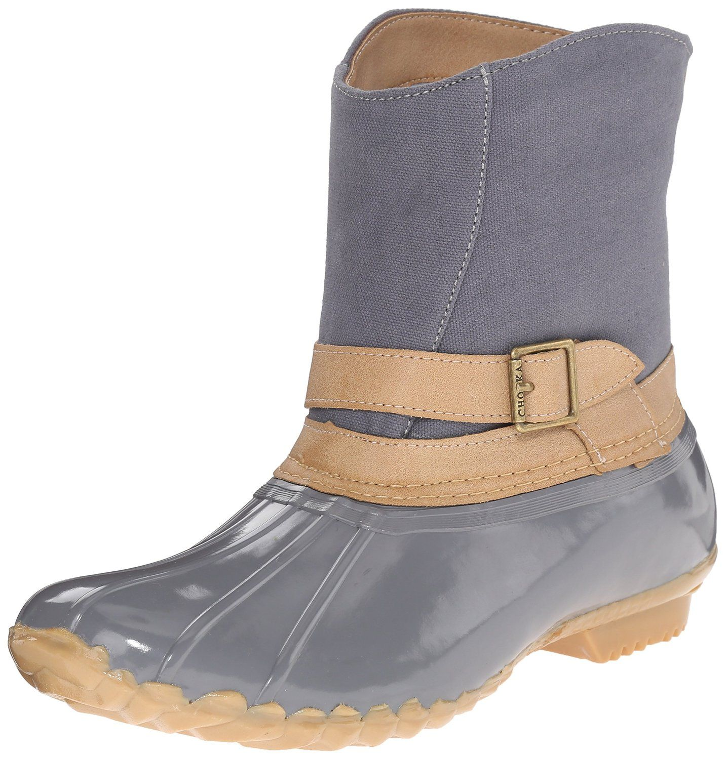 Chooka Women's Canvas Step-In Duck Ankle Rain Boot, Gray, 6 M US.  Weather-resistant duck boot with canvas shaft featuring distressed  faux-leather strap with ...