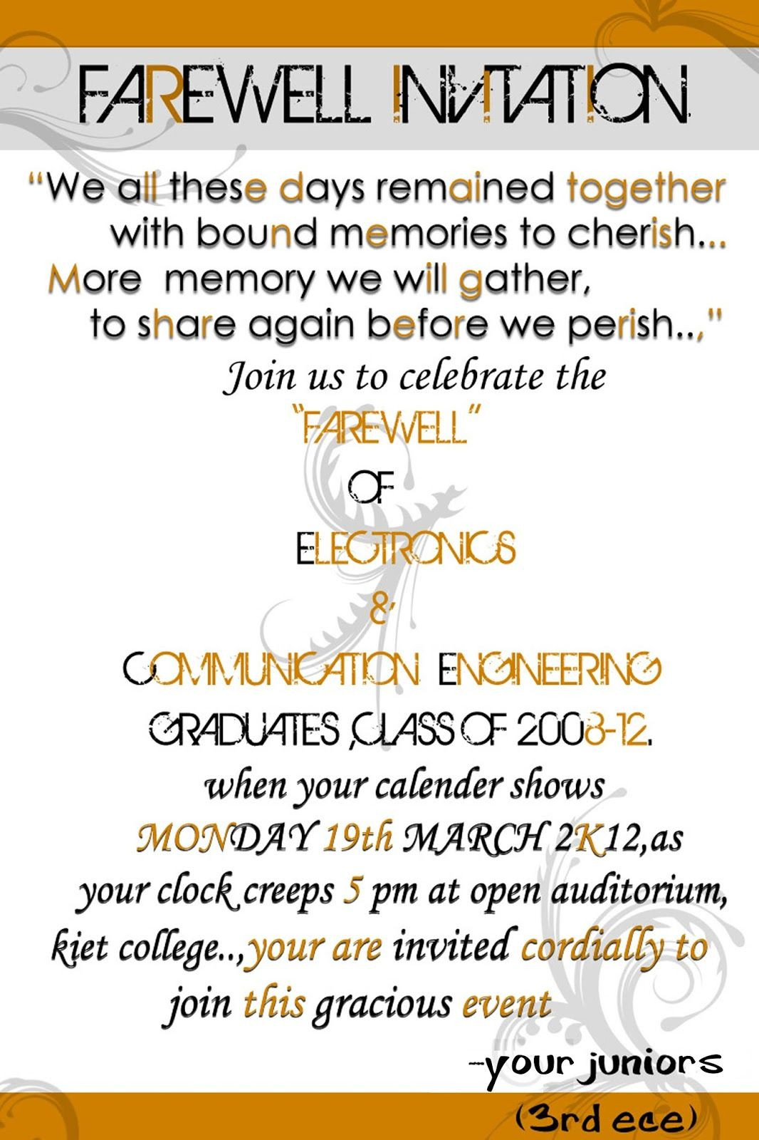 luncheon invitation wording just b cause  Farewell party