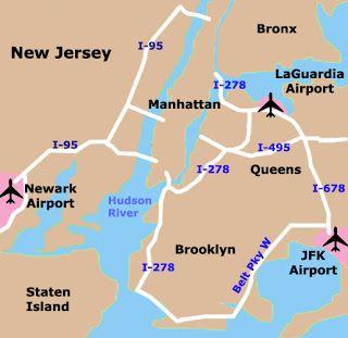 New York Airport Map | NYC | New york city map, New York City