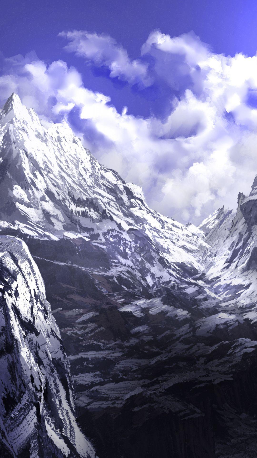 Anime Mountains Summit Art 1080x1920 Wallpaper Mountain Art