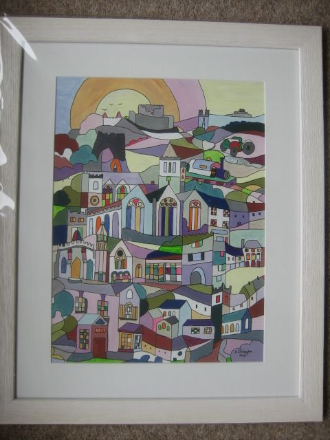 Launceston 2013 One of 2 designs for Launceston Town Council for the 2013 Town Guide. SOLD and now hanging at Lower Goodmansleigh Farm.  1st art print sold as wedding present for a couple in Bedfordshire,