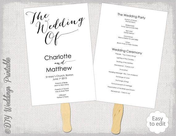Wedding Program Fan Template Diy Order Of Ceremony Printable Modern Calligraphy Script Shell O