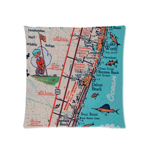 Map Of West Palm Beach Florida.Map Throw Pillow Retro West Palm Beach Lake Worth Boynton Retro