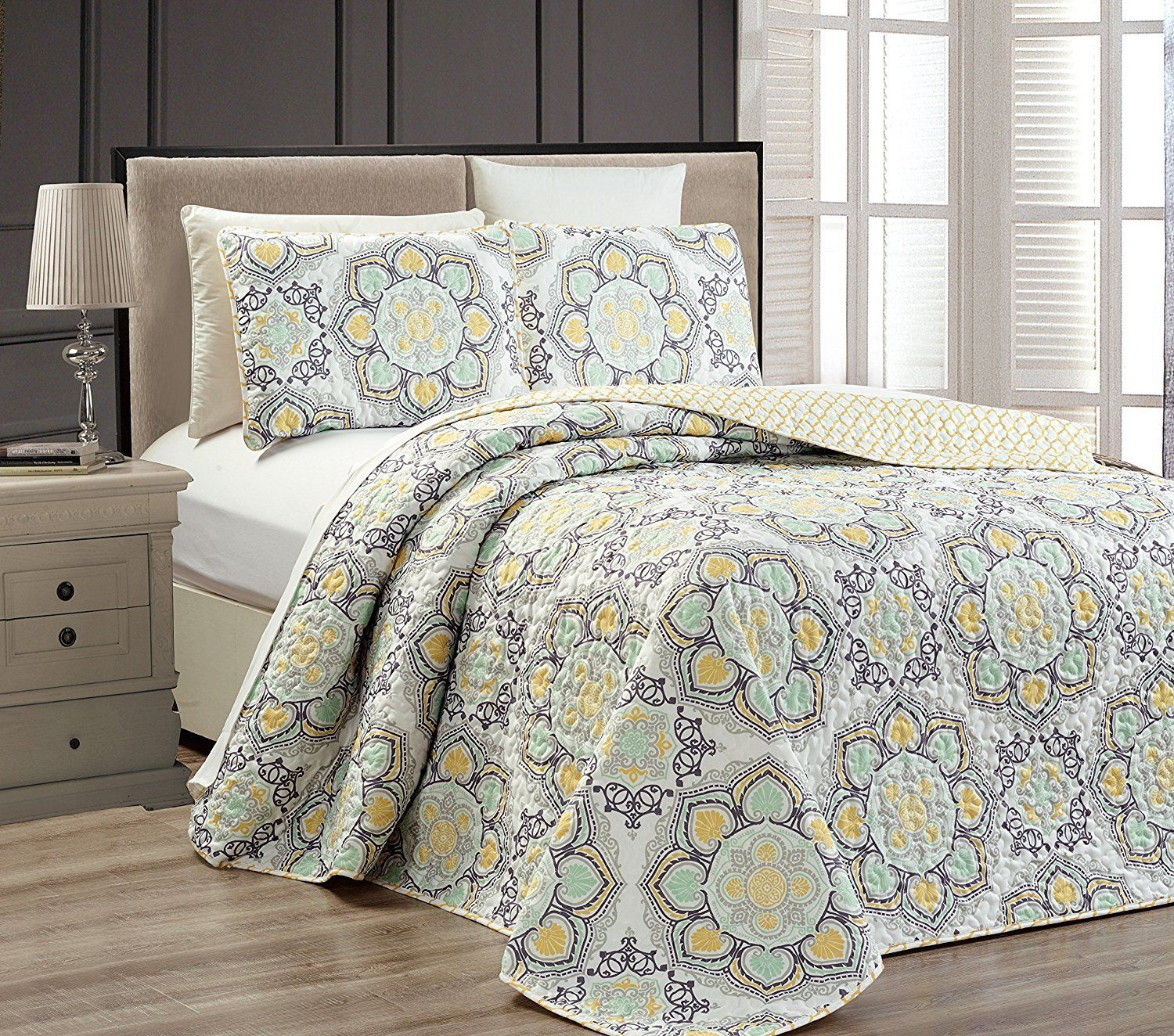 Mk Collection 3pc Queen Oversize Reversible Quilted Bedspread Set Floral Yellow White Gray Light Green New Yo Bed Spreads Bedspread Set Queen Size Bedspread