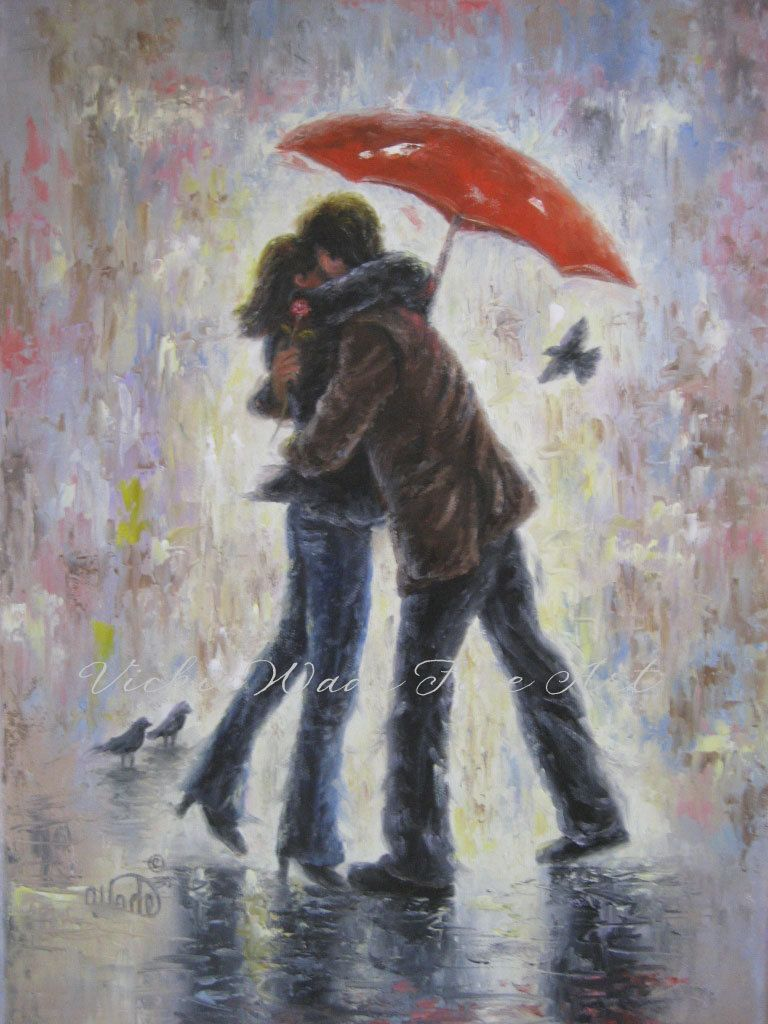 SALE Kiss In The Rain Canvas Giclee Print Lovers Paintings Red Umbrella Hugging Romance From Original Vickie Wade Art