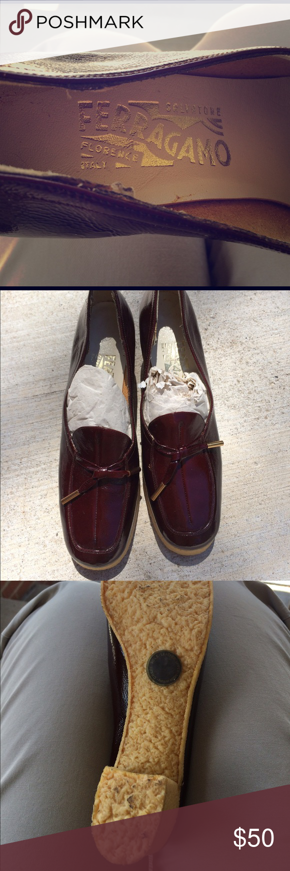 Ferragamo Crepe Sole Shoes Unusual shoes I purchased while going through a 70's vintage phase. I think I wore them once or twice. They are a oxblood color. In decent vintage condition, they are slightly bent from being in a box so long. They are narrow. Any questions, just ask. I can take additional photos, if needed. 😊 Ferragamo Shoes Heels