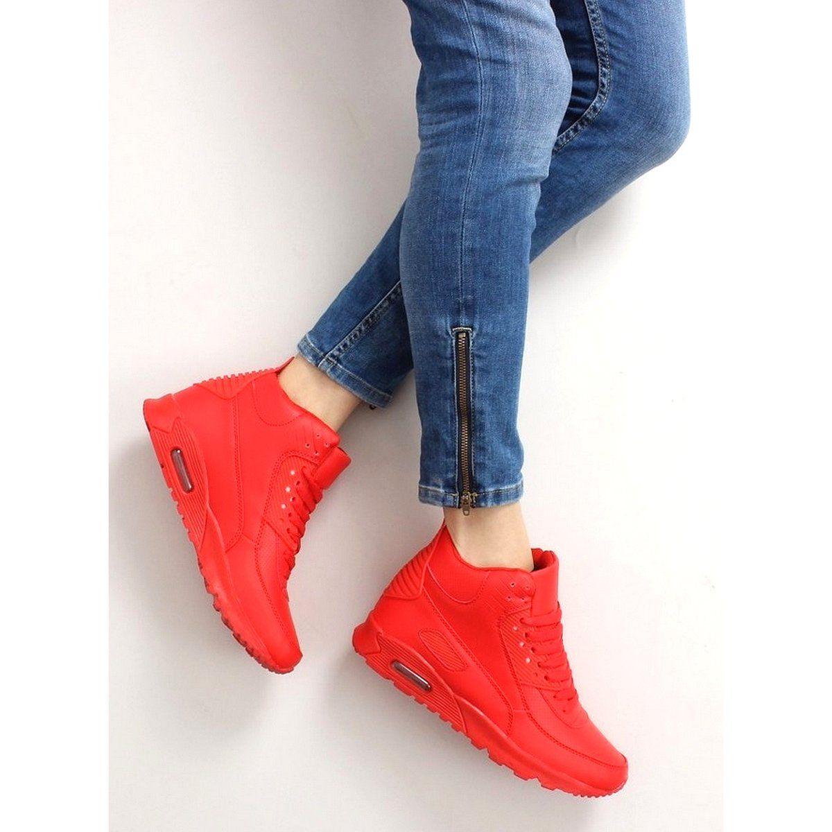 Sportowe Damskie Obuwiedamskie Czerwone Obuwie Sportowe Za Kostke B3701 Red Obuwie Damskie High Top Sneakers Shoes Top Sneakers