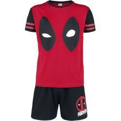 Photo of Deadpool Gesicht Herren-Schlafanzug – schwarz rot – Offizieller & Lizenzierter Fanartikel