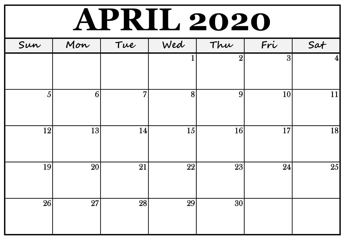 April 2020 Calendar Template With New Gradual Appointment In 2020