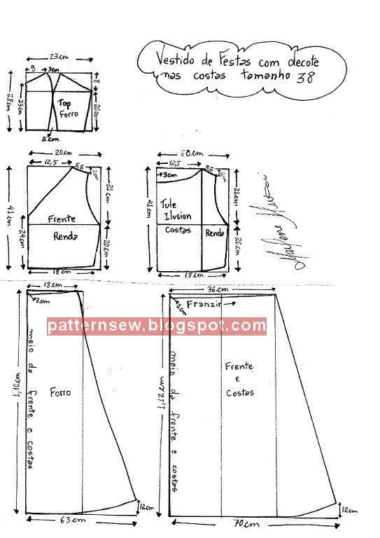 Patrón de tamaño vestido de Soiree Baldantel 36 - 56 - costura ...