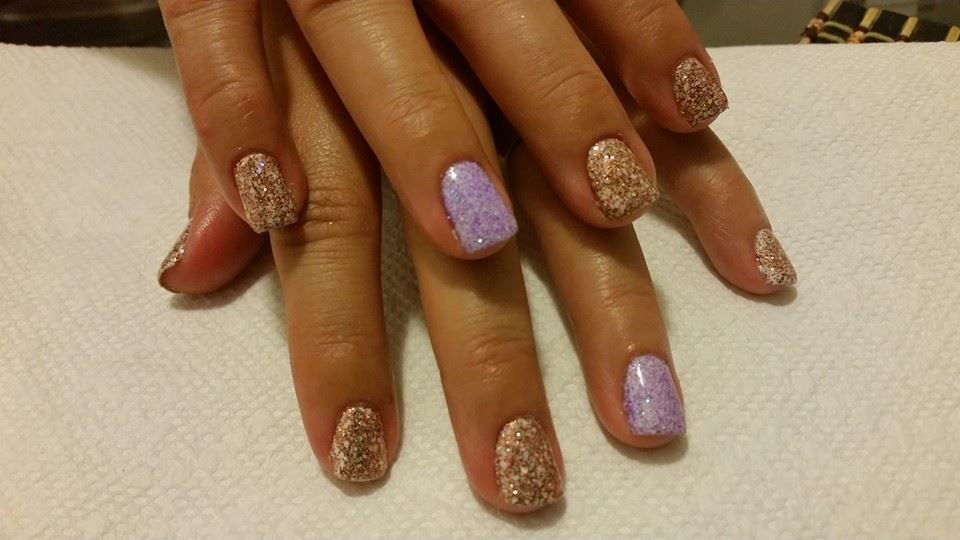 Nails By Kenia Gelnails Glitternails Purple Lavender Copper Glitter Nails Gel Nails Nails