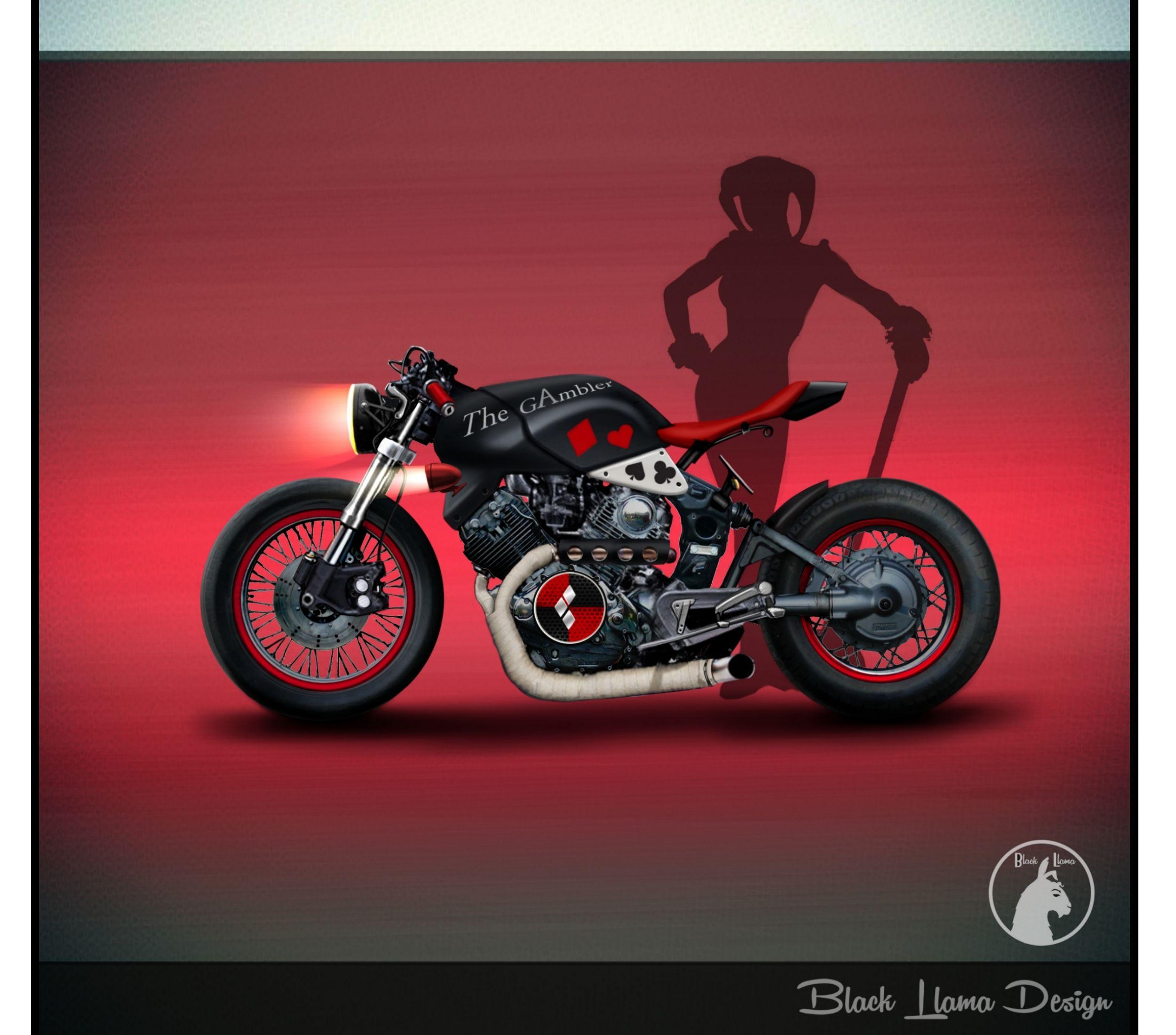 Harley Quinn Motorcycle (yamaha Virago) Black Llama Design