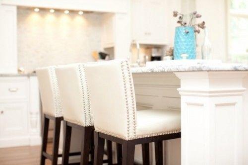White Leather Kitchen Island Stools