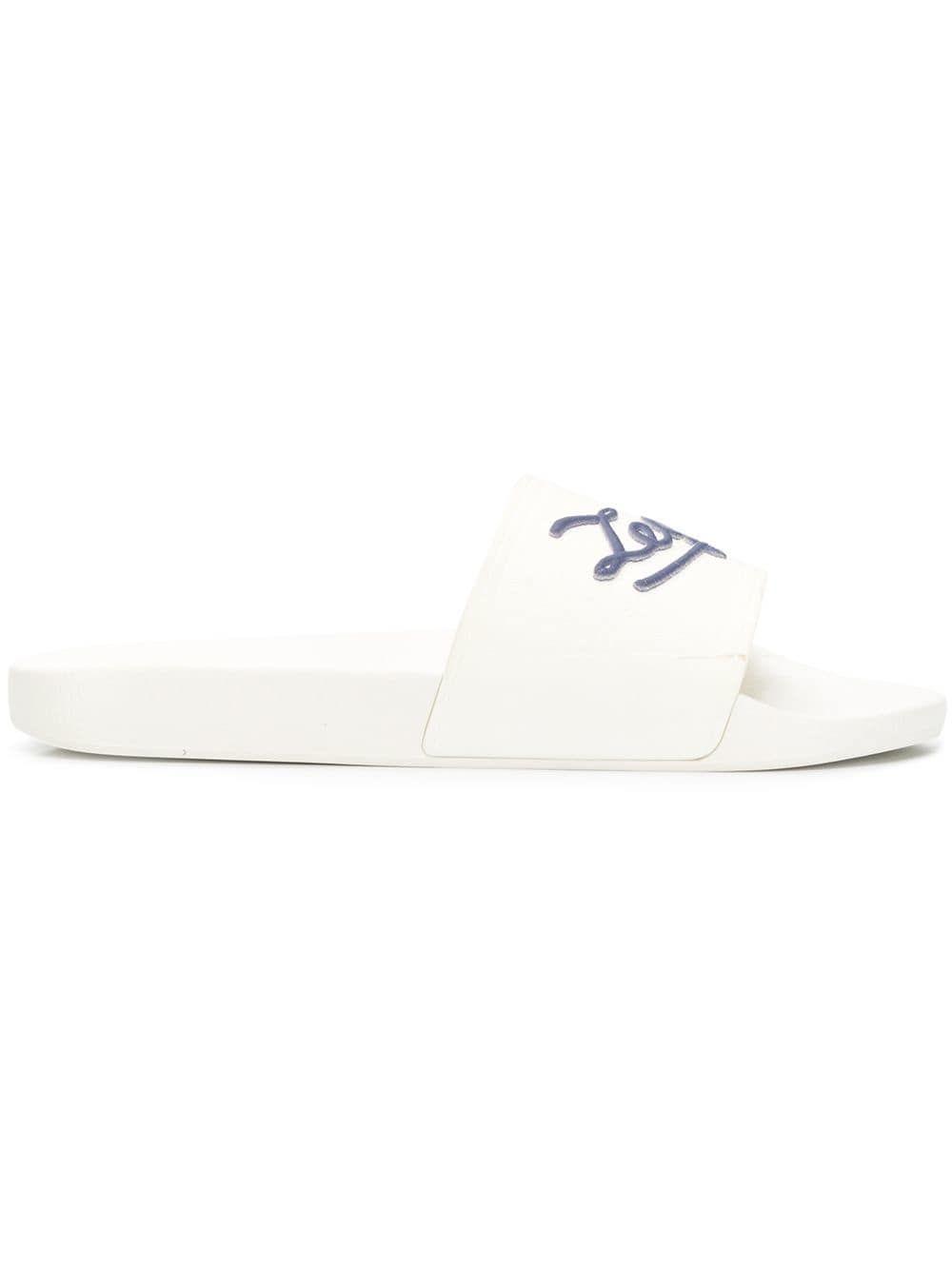Ermenegildo Zegna Logo Print Slides White Designer Flip Flops Blue Logo Ermenegildo Zegna