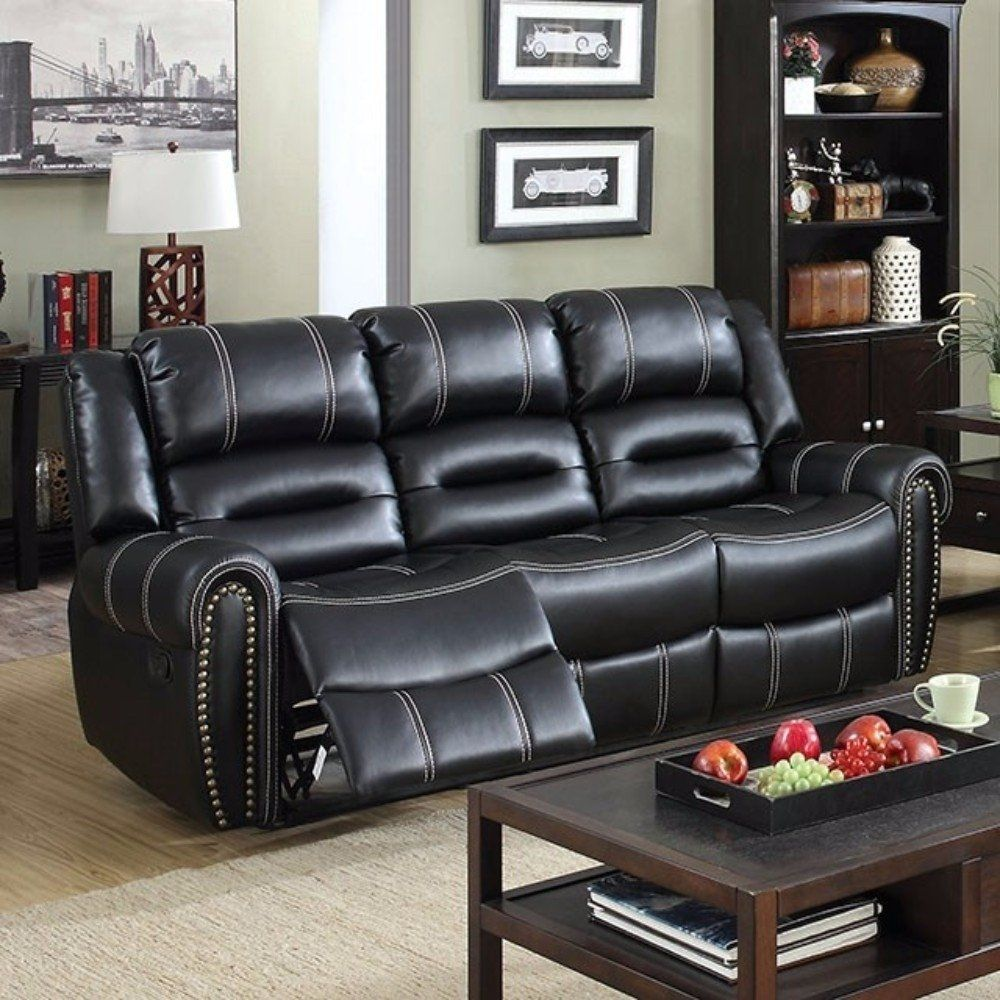 Amazing Breathable Leatherette Recliner Sofa Black Benzara Alphanode Cool Chair Designs And Ideas Alphanodeonline