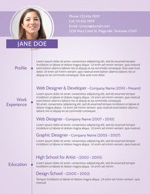 Purple Modern CV Sample Recruiter Pinterest Modern resume