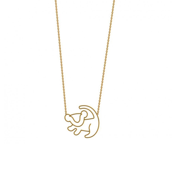Disney Mini Lion King White Gold-Plated Simba Outline Necklace M4h06ejbio